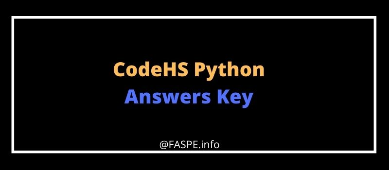 CodeHS Python Answers Key