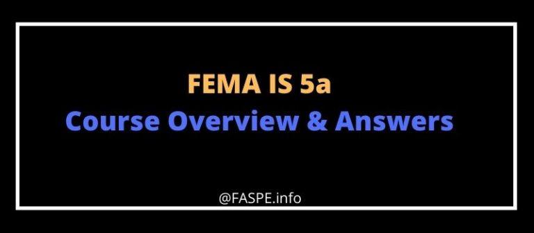 FEMA IS 5a answers